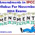 Amendments in IPCC Syllabus For November 2014 Exams
