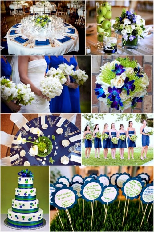 Green and blue wedding theme flowers http refreshrose for Navy blue wedding theme ideas