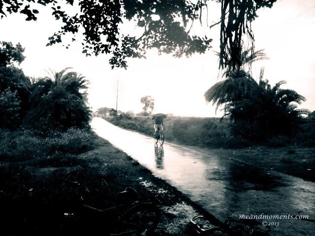 rainy day, people with umbrella in rain, black and white rainy phot