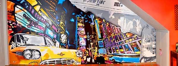 Decoración mural ciudad New York colores