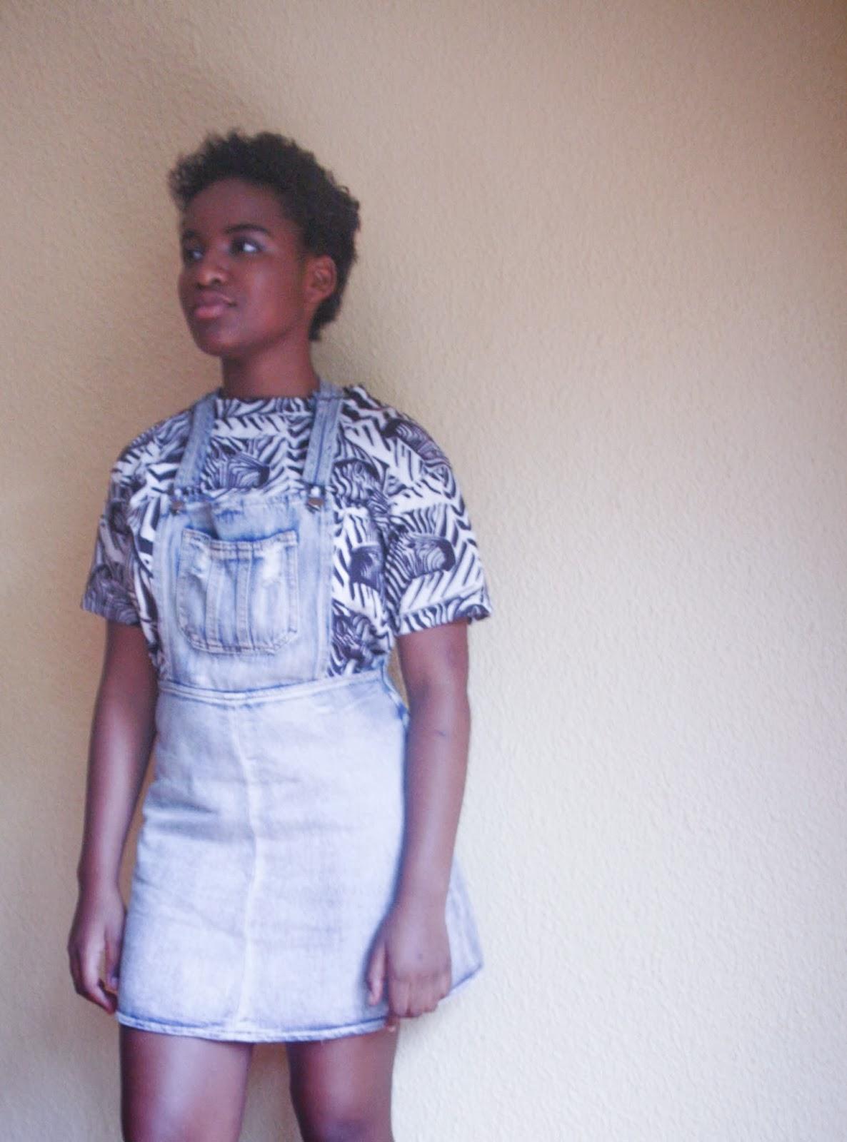 hipster black girl denim pinafore zebra print top