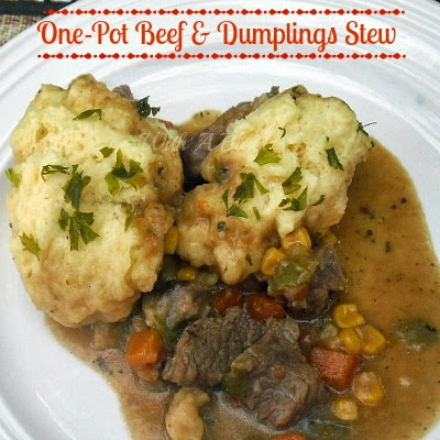 One Pot Beef and Dumplings Stew ~ rich and filling stew with feather light dumplings  #stew #dumplings #OnePot #BeefStew