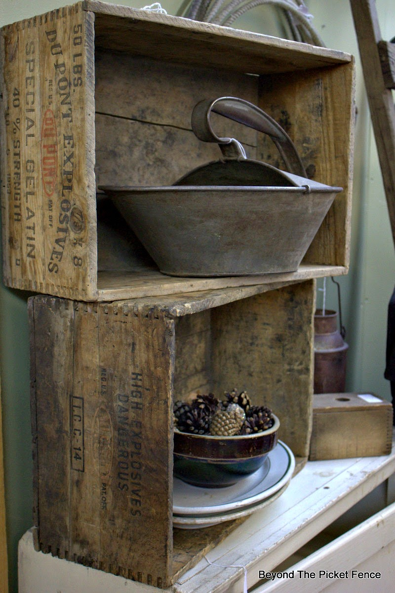 crates, benches, old wood, antique, decor, http://bec4-beyondthepicketfence.blogspot.com/2015/02/5-decorating-lessons-from-store.html