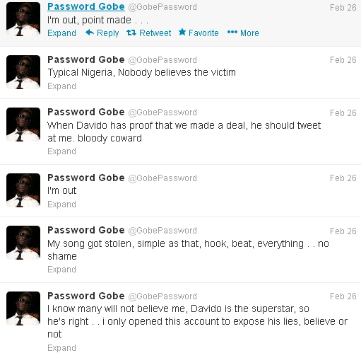 davido steals gobe song