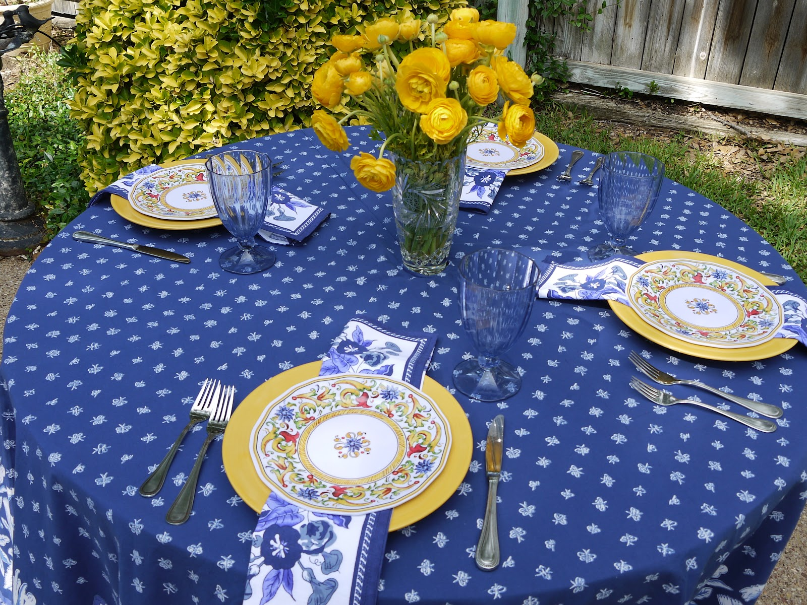 Wonderful ... Anchored By A Yellow Dinner Plate From Pier 1 And A Blue And White  Napkin From Williams Sonoma. The Blue Glasses Almost Vanish On That  Tablecloth!