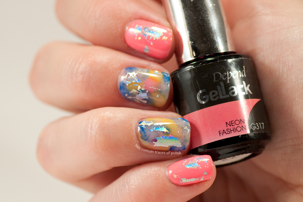 Gel nails with foil and watercolor effect - May contain traces of polish