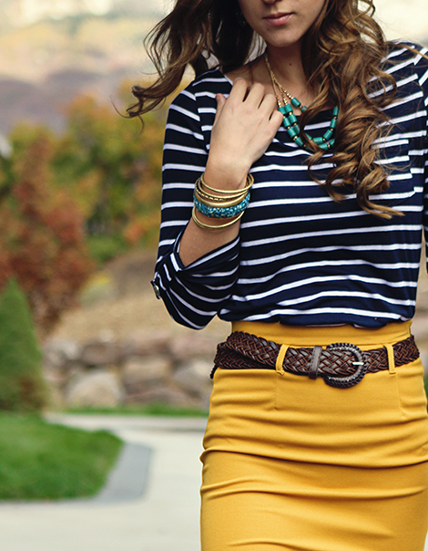 see more Such a Fashionable  and Cute Wearing style in full sleeve stripes shirt with combination with mustard skirt.