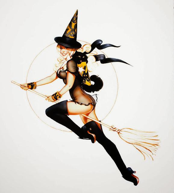 Halloween witch sexy cartoon pin up girls