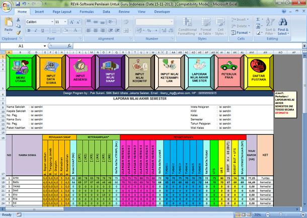 Aplikasi Penilaian Kurikulum 2013 SMA SMK Format Microsoft Excel