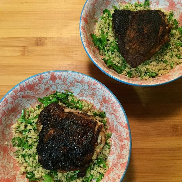 Spiced Chicken Thighs with Lemon-Parsley Couscous