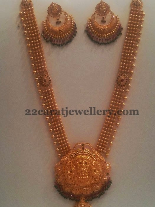 antique long haram 82 grams jewellery designs