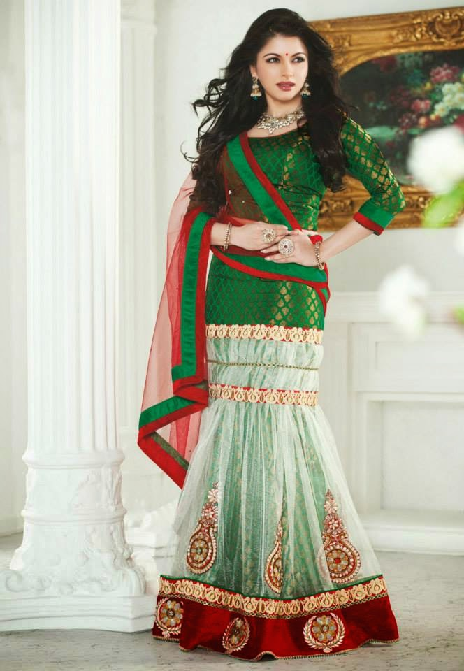 Off White and Green Net Lehenga Choli with Dupatta.