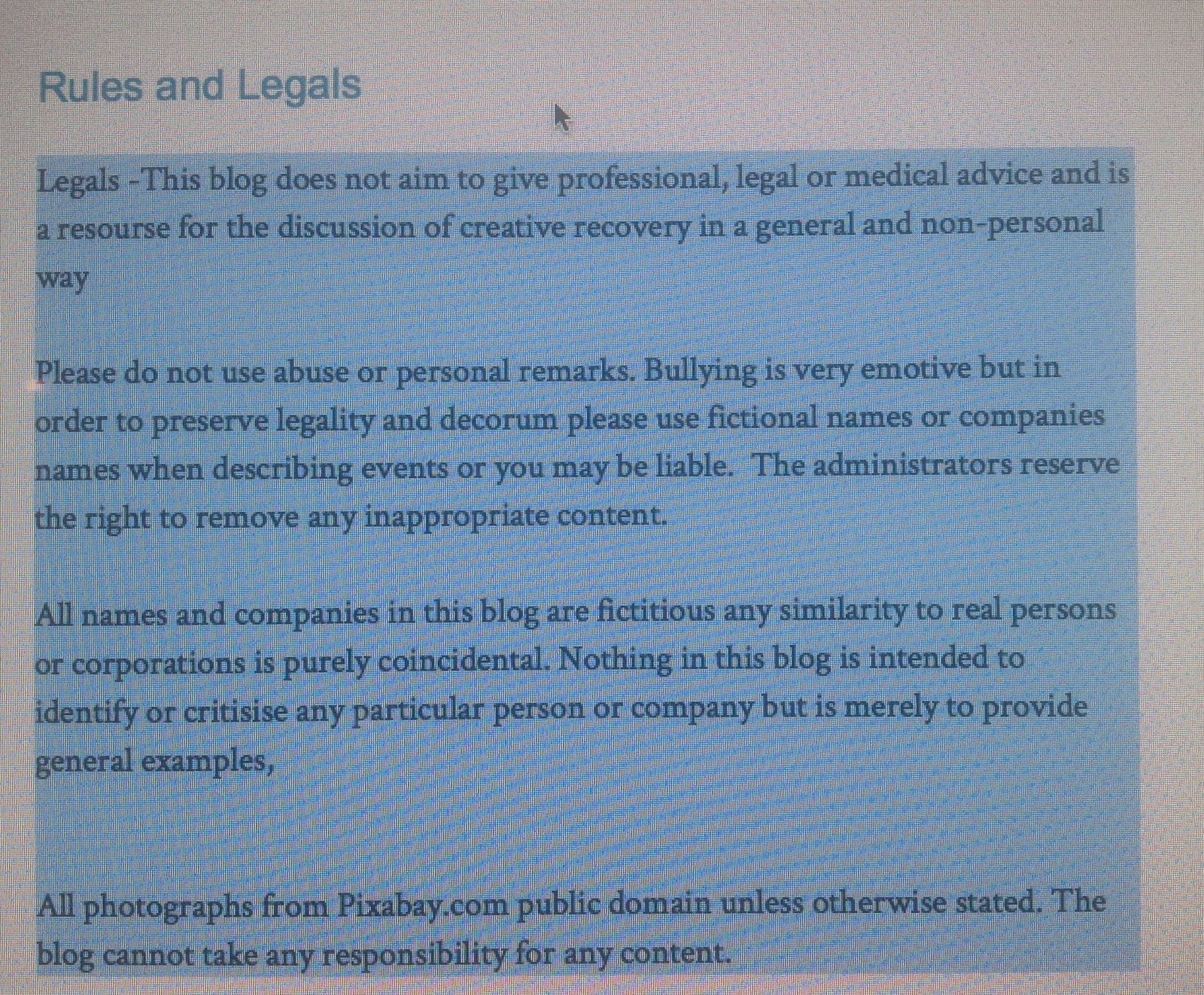 Rules and legals