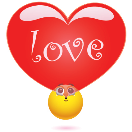 Emoticon blowing a heart bubble