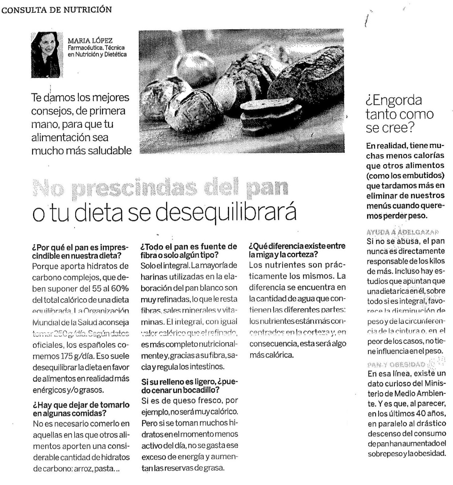Panader A Pasteler A Buera Barbastro El Pan En Las Dietas ~ Dieta Adelgazamiento Saber Vivir
