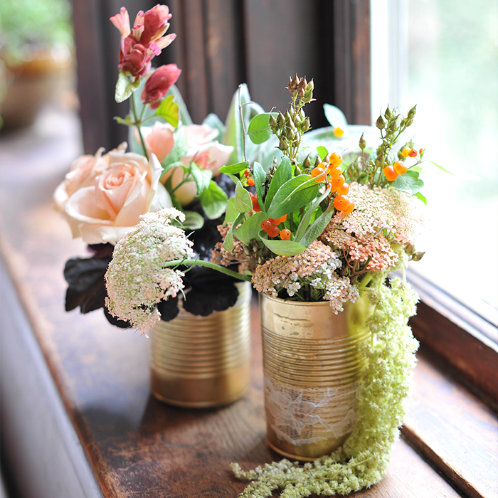 DIY Gold Soup Can Flower Vase // A New Bloom