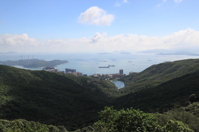 The outlying islands of Cheung Chau Island, Lamma Island and Lantau Island from the viewing platform of Sky Terrance 428 at The Peak Tram in Hong Kong