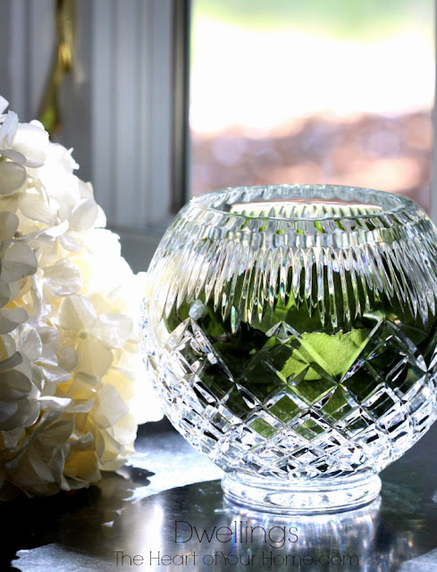 Hydrangea and twig dining room centerpiece.