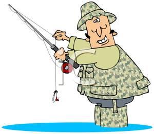 Cartoon fly fisherman