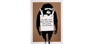 Laugh Now, 2003 by Banksy graffiti art