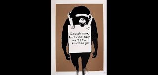 Laugh Now, 2003 by Banksy graffiti art