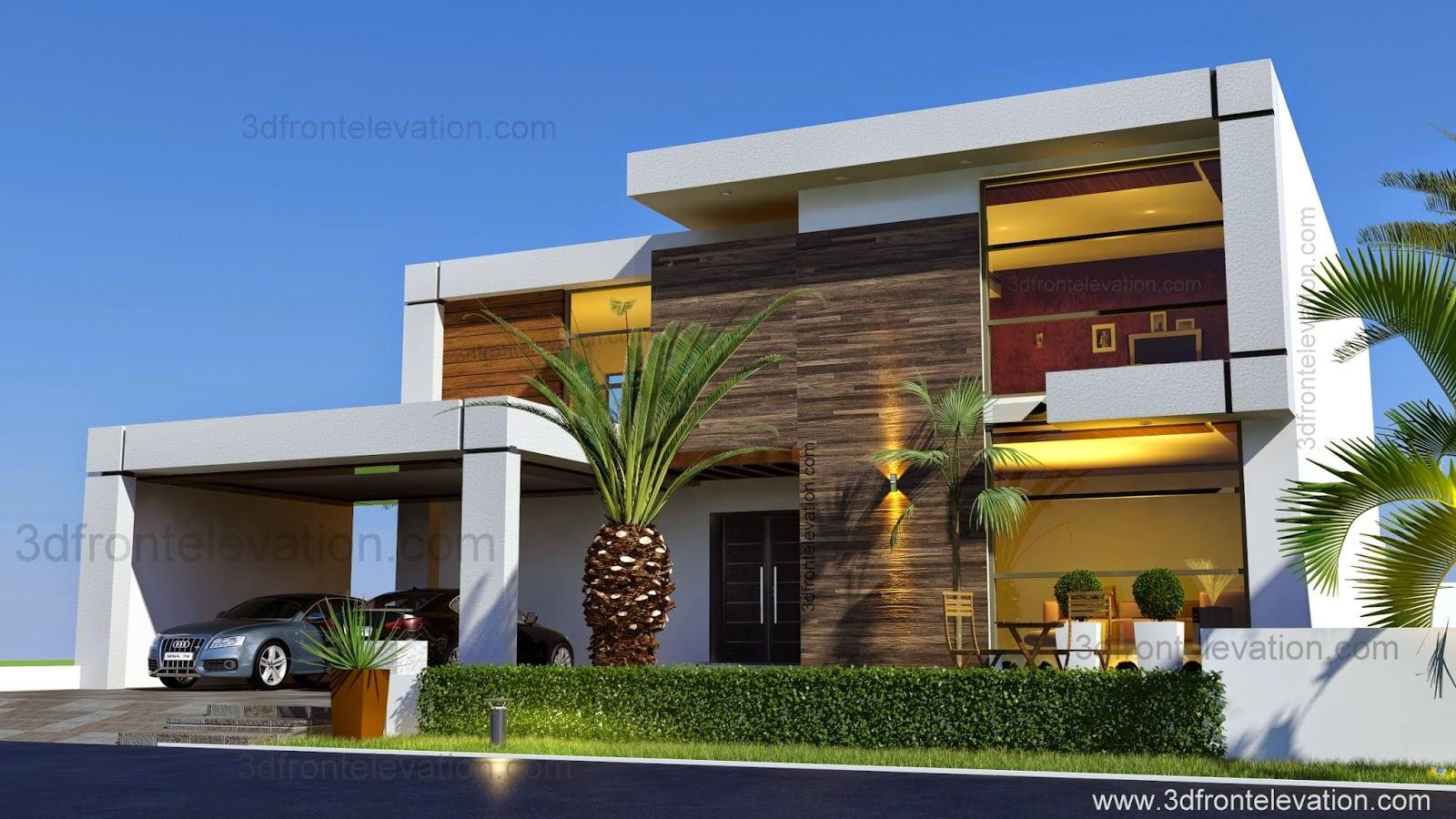 3d front beautiful contemporary house for Contemporary house pictures