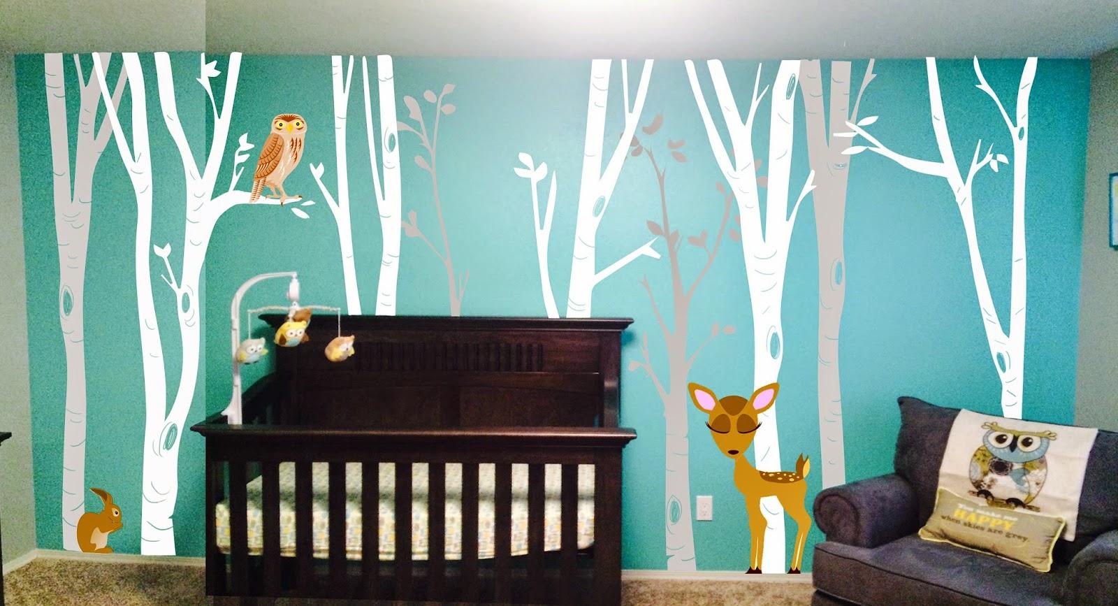 nursery mural portland oregon, portland muralist, trees and owl baby room mural, baby nursery mural