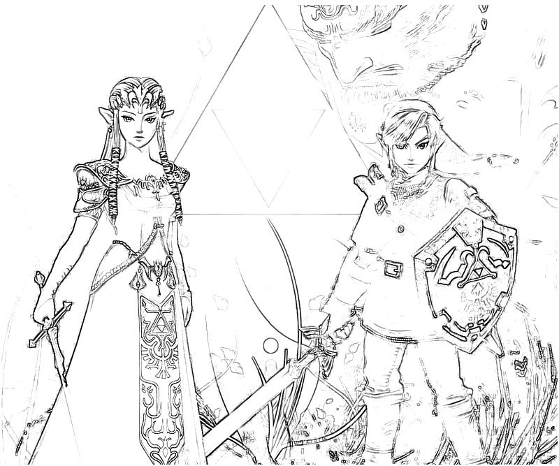 the legend of zelda link and zelda - Zelda Coloring Pages