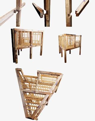 Estrutura de madeira para abrigo em outdoor