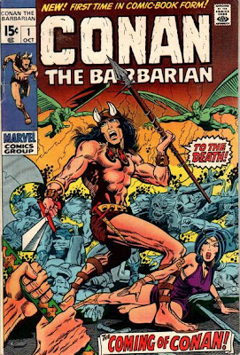 Conan the Barbarian #1, conan confronts evil hordes as woman lies at his feet, barry smith, marvel comics