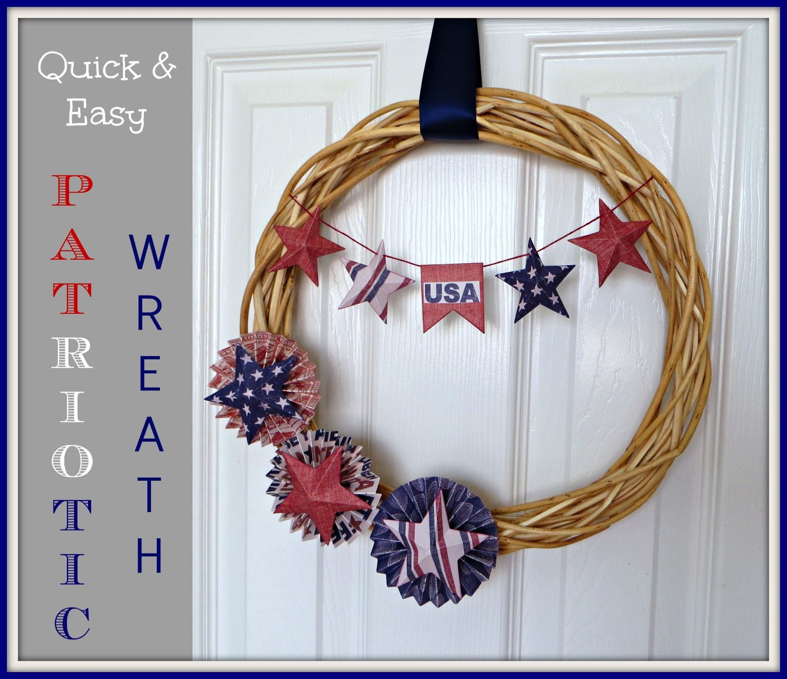 Crafty in crosby quick and easy patriotic wreath for Americana crafts to make