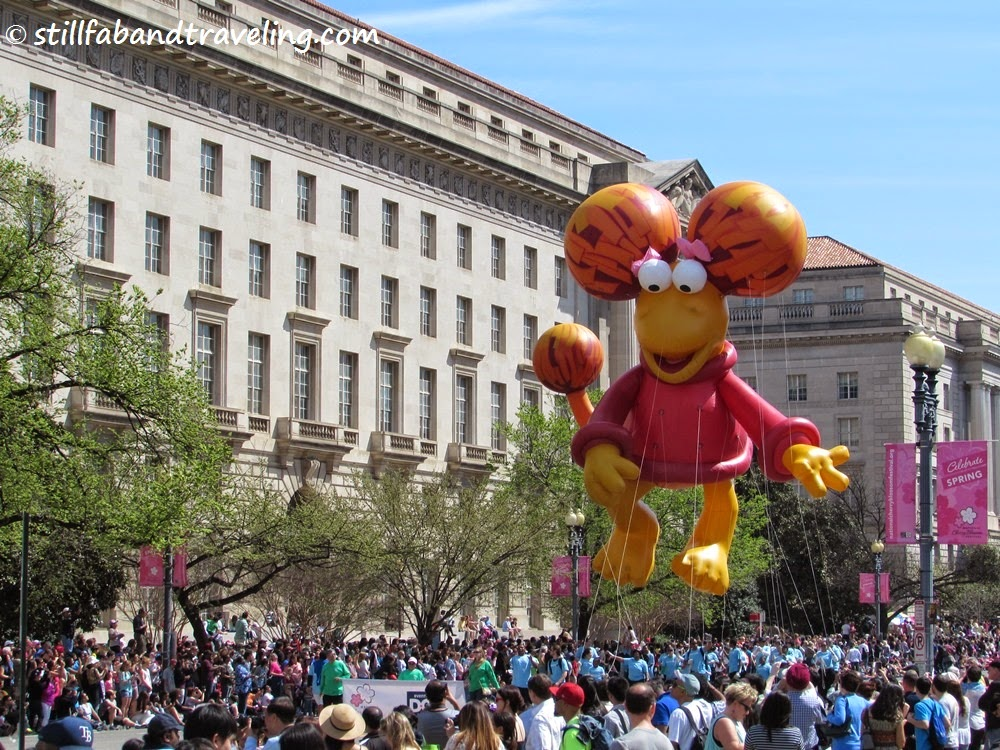 Cherry Blossom parade - dinosaur balloon float