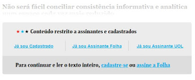 Folha de São Paulo e seus conteúdos restritos para assinantes. A crise do jornalismo impresso no Brasil