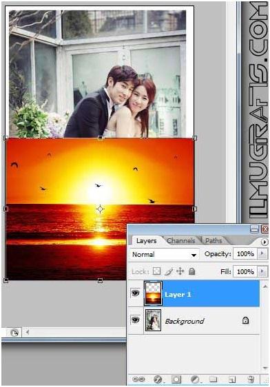 tarik foto 2 ke foto 1 dengan move tool