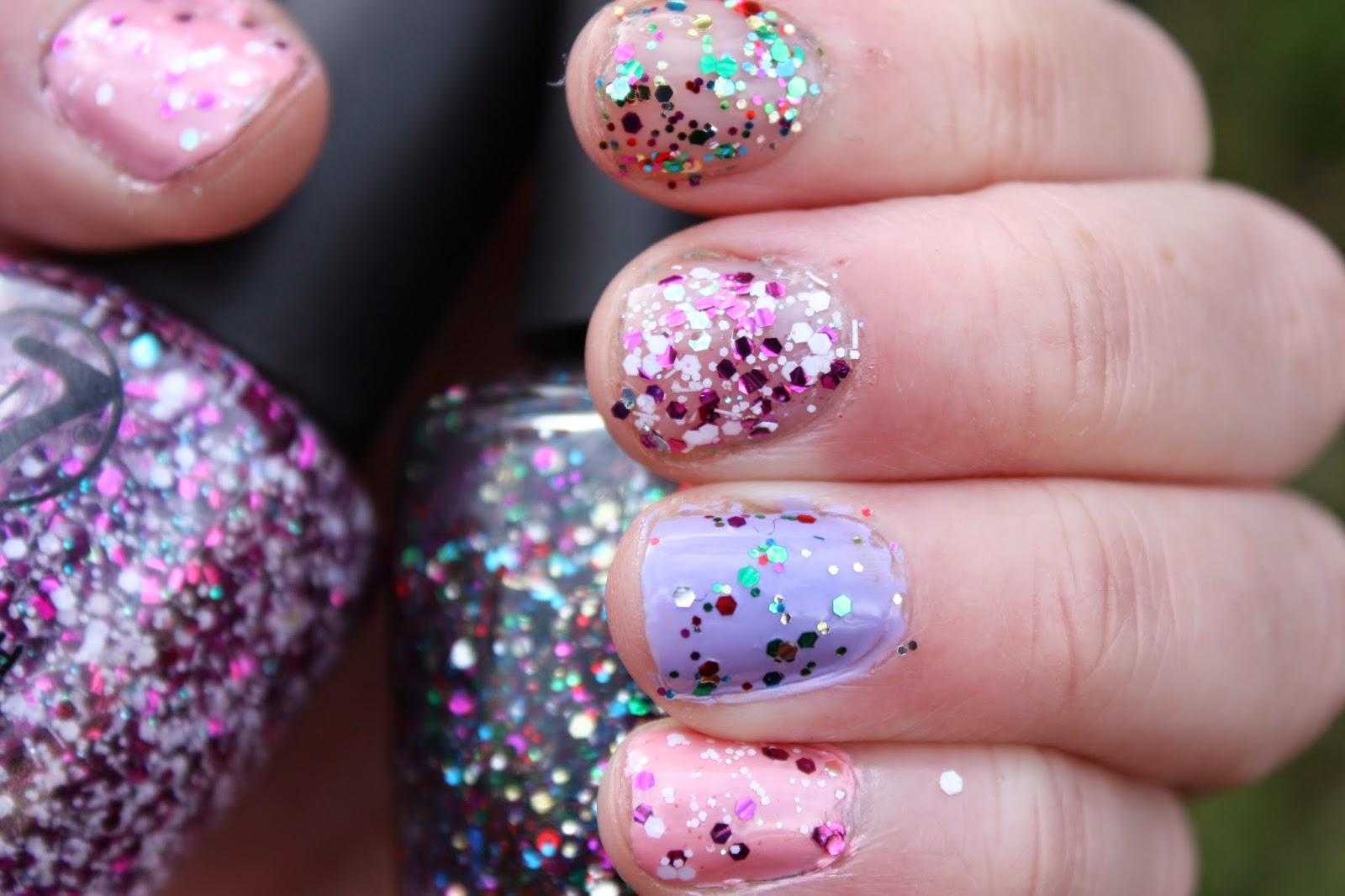 Sailor Klerr: W7 Glitter Polish: Multi Dazzle and Pink Shard