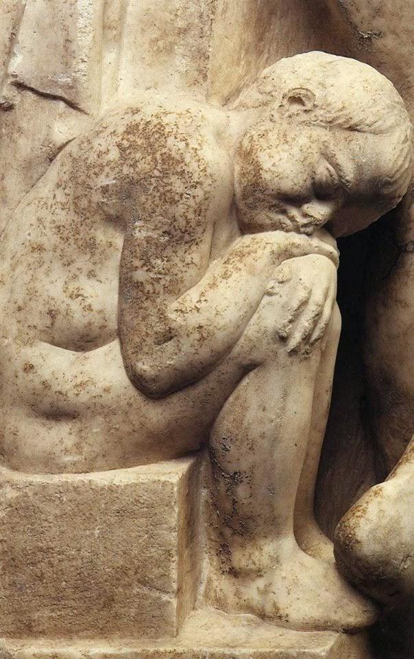 Λεπτομέρεια της επιτάφιας στήλης του Ιλισσού, π. 340 π.Χ.