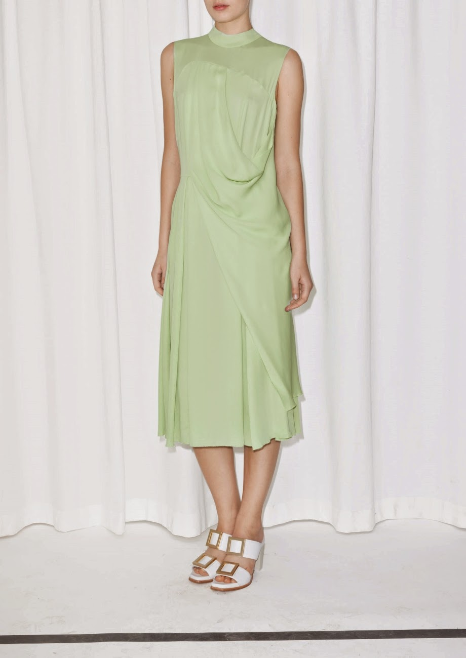green draped dress, stories green dress,