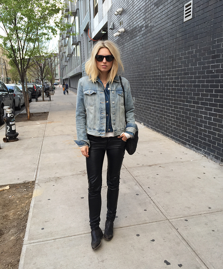 Fashion Over Reason, Gap double denim jacket, leather pants, Frye shooties, Brooklyn