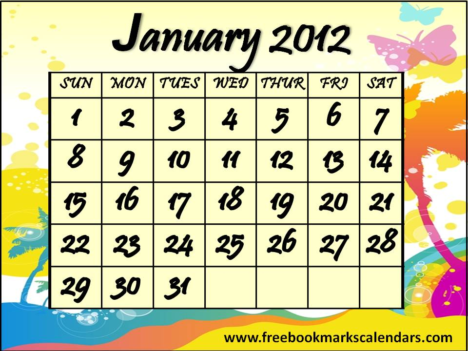 Free Printable Calendars 2013 2014 Colorful January 2012 Calendar