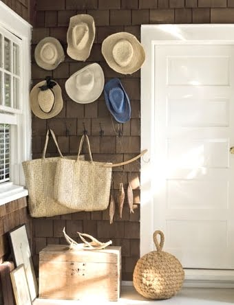 straw hats on front porch