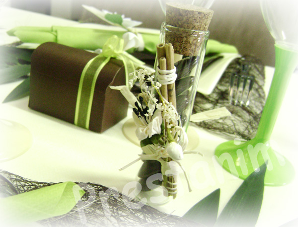 Ma décoration de mariage: Table de mariage zen en marron et vert anis