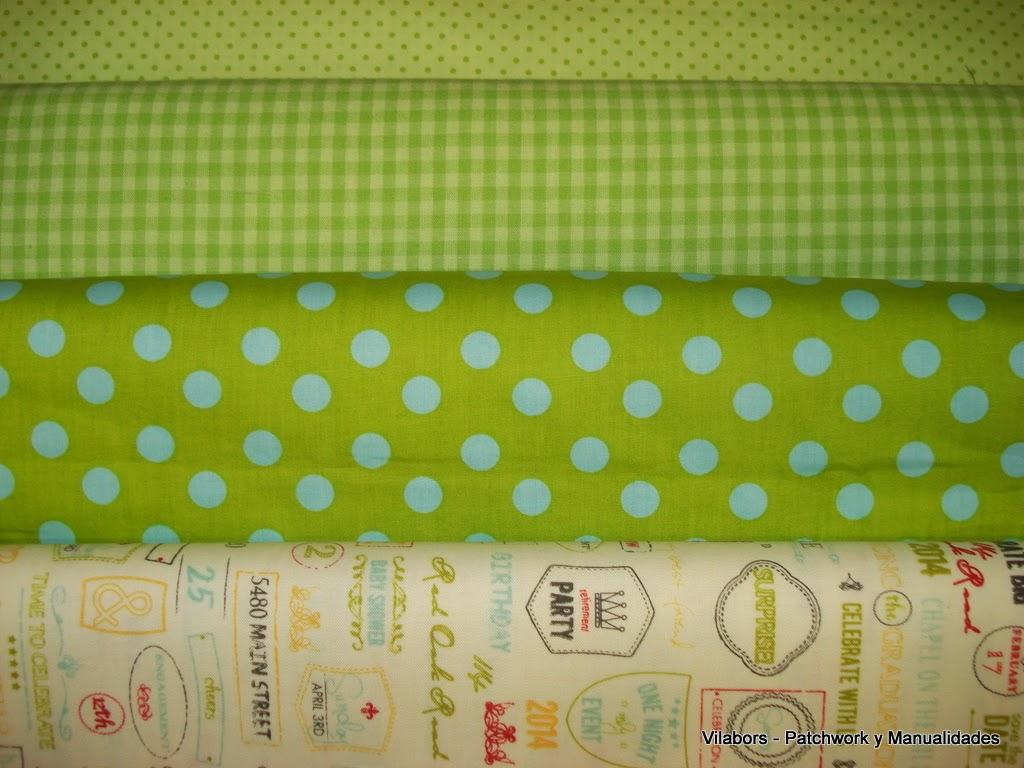 Primavera 2014, Telas Patchwork. Completando la colección Wishes con topos y cuadros en tonos verdes y turquesas. Vilabors, Vilafranca del Penedès