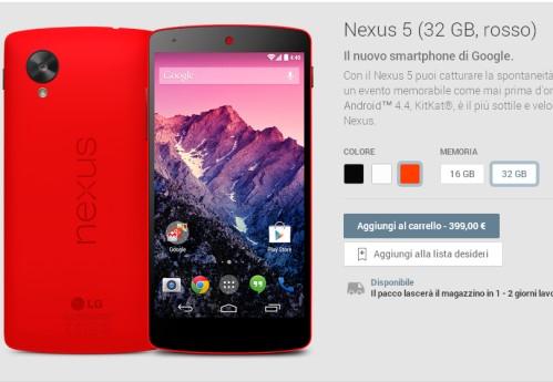 Disponibile alla vendita la versione con colore rosso del Nexus 5 sul Play store di Google anche in Italia