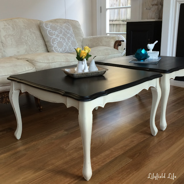 A pair of French style coffee tables ASCP Old Ochre and Black. Lilyfield Life