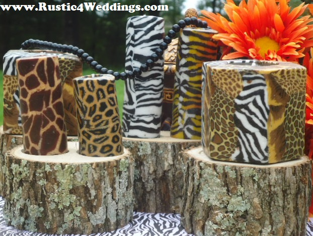 Rustic 4 weddings rustic safari wedding candle stands and for Animal print decoration