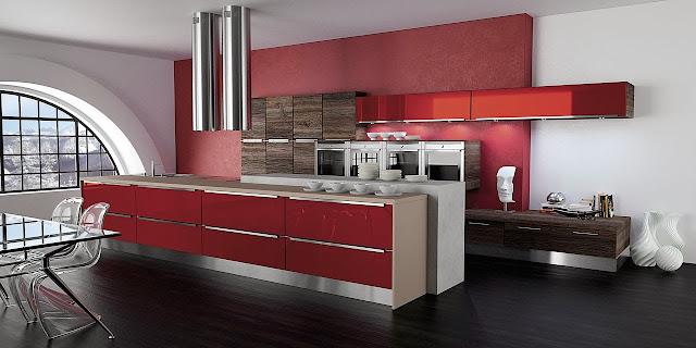 cuisine moderne rouge avec poignées chromés et complément décoratif en bois. Cuisine Morel