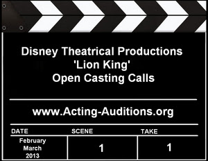 Disney Theatrical Productions Lion King Open Casting Calls