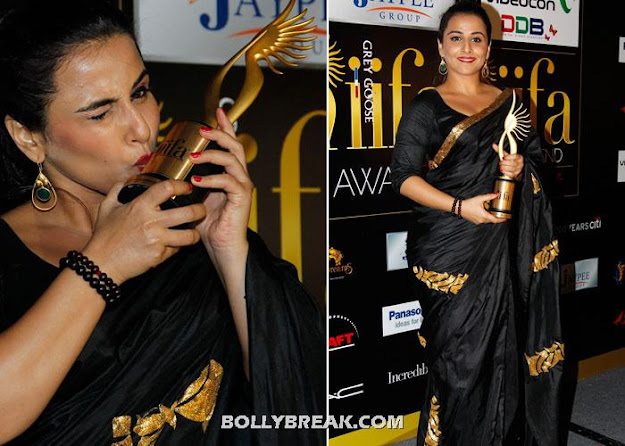 Vidya balan in black sari at Iifa 2012  -  Vidya Balan and Rekha Kissing T R O P H I E S - iifa 2012