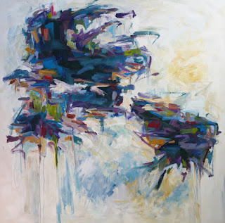 Acrylic abstract painting by artist Karri McLean Allrich, 60x60 Winter Solstice