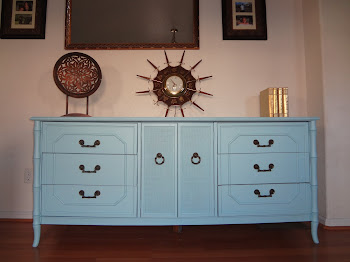1960's Bamboo Blue Heaven Dresser or Buffet $425